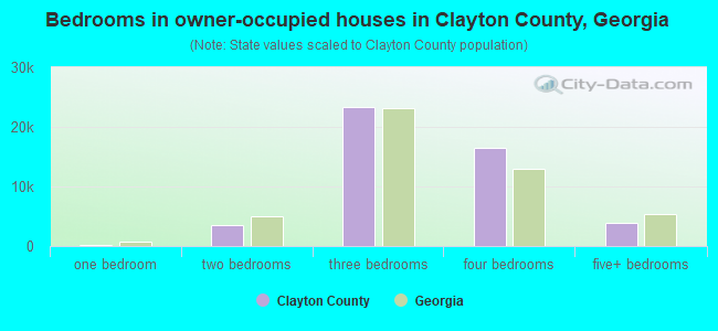 Bedrooms in owner-occupied houses in Clayton County, Georgia