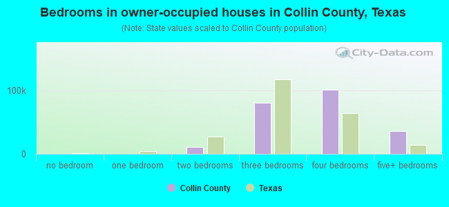Bedrooms in owner-occupied houses in Collin County, Texas
