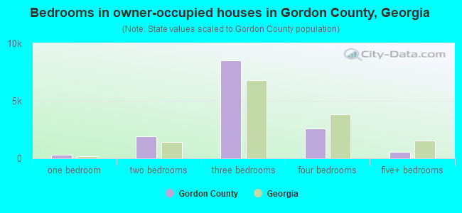 Bedrooms in owner-occupied houses in Gordon County, Georgia