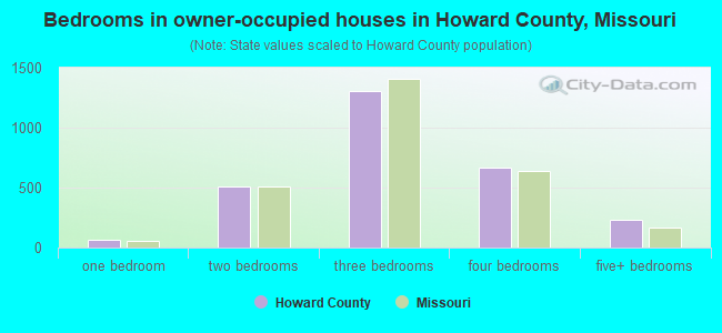 Bedrooms in owner-occupied houses in Howard County, Missouri