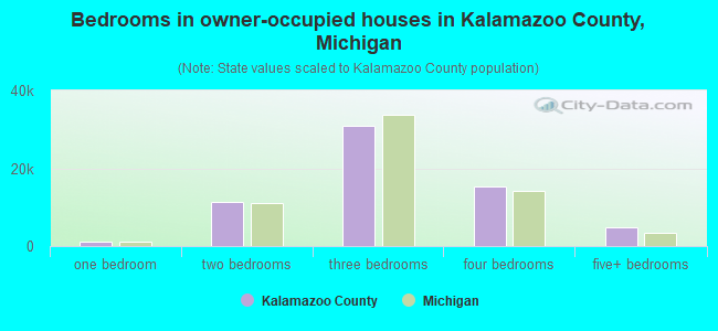 Bedrooms in owner-occupied houses in Kalamazoo County, Michigan