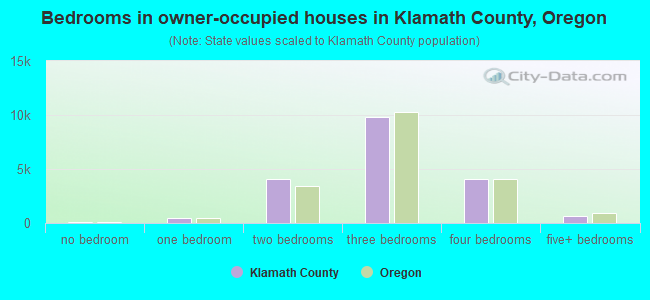 Bedrooms in owner-occupied houses in Klamath County, Oregon