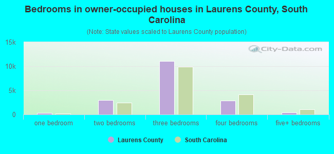 Bedrooms in owner-occupied houses in Laurens County, South Carolina