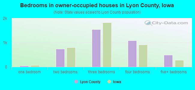Bedrooms in owner-occupied houses in Lyon County, Iowa