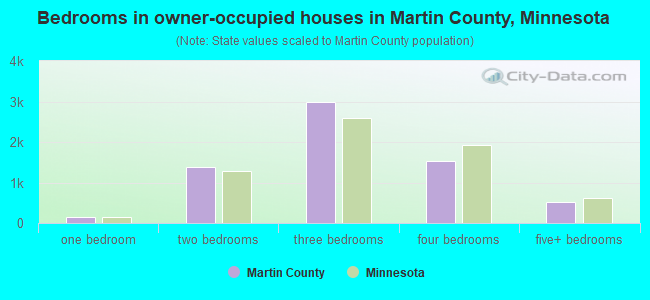 Bedrooms in owner-occupied houses in Martin County, Minnesota