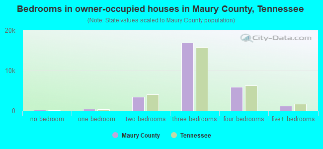 Bedrooms in owner-occupied houses in Maury County, Tennessee