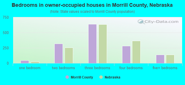 Bedrooms in owner-occupied houses in Morrill County, Nebraska