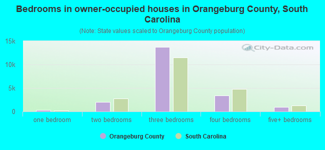 Bedrooms in owner-occupied houses in Orangeburg County, South Carolina