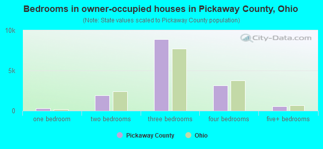 Bedrooms in owner-occupied houses in Pickaway County, Ohio