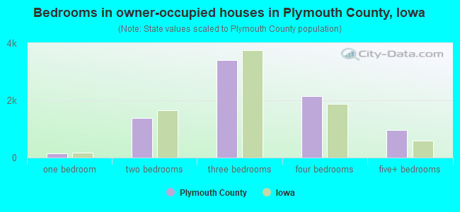 Bedrooms in owner-occupied houses in Plymouth County, Iowa