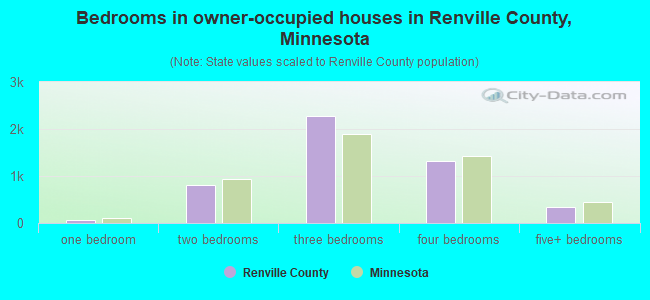 Bedrooms in owner-occupied houses in Renville County, Minnesota