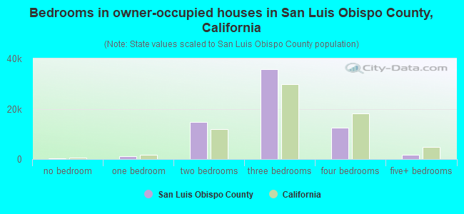 Bedrooms in owner-occupied houses in San Luis Obispo County, California
