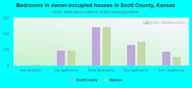 Bedrooms in owner-occupied houses in Scott County, Kansas