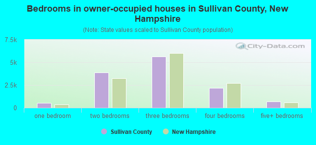 Bedrooms in owner-occupied houses in Sullivan County, New Hampshire