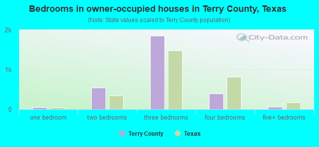 Bedrooms in owner-occupied houses in Terry County, Texas