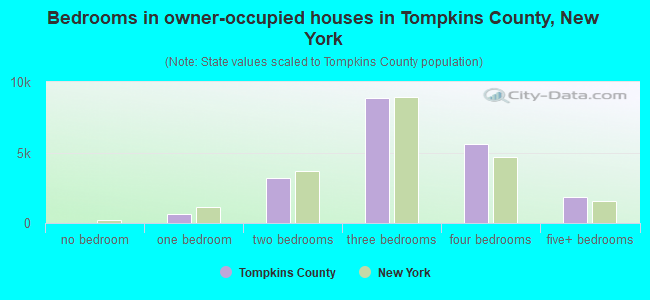 Bedrooms in owner-occupied houses in Tompkins County, New York