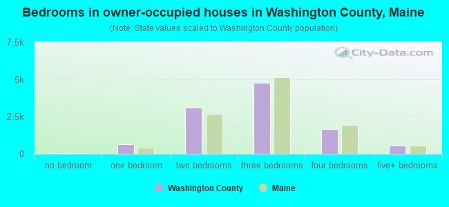 Bedrooms in owner-occupied houses in Washington County, Maine