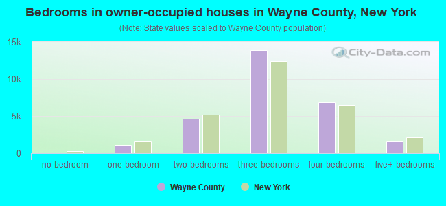 Bedrooms in owner-occupied houses in Wayne County, New York