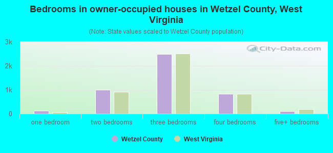 Bedrooms in owner-occupied houses in Wetzel County, West Virginia
