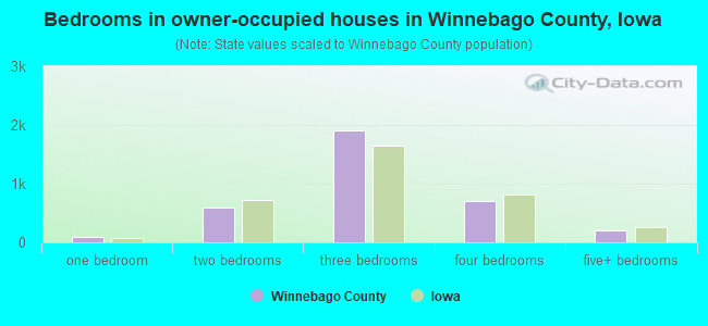 Bedrooms in owner-occupied houses in Winnebago County, Iowa