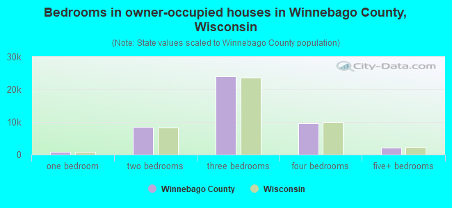 Bedrooms in owner-occupied houses in Winnebago County, Wisconsin