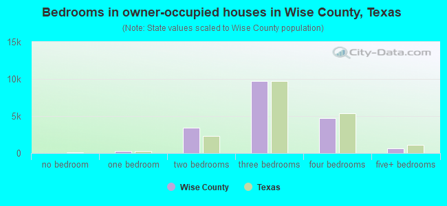 Bedrooms in owner-occupied houses in Wise County, Texas