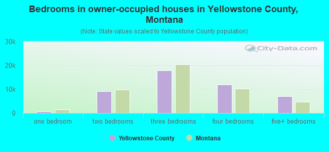 Bedrooms in owner-occupied houses in Yellowstone County, Montana