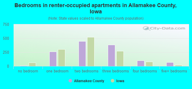 Bedrooms in renter-occupied apartments in Allamakee County, Iowa