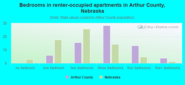 Bedrooms in renter-occupied apartments in Arthur County, Nebraska