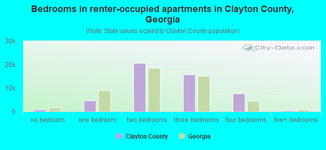 Bedrooms in renter-occupied apartments in Clayton County, Georgia