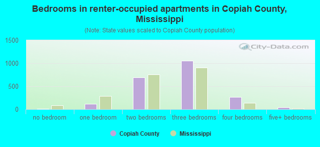Bedrooms in renter-occupied apartments in Copiah County, Mississippi