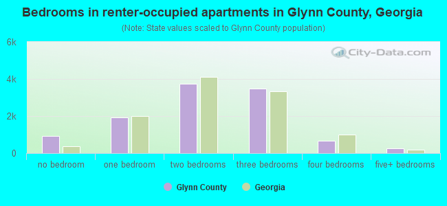Bedrooms in renter-occupied apartments in Glynn County, Georgia