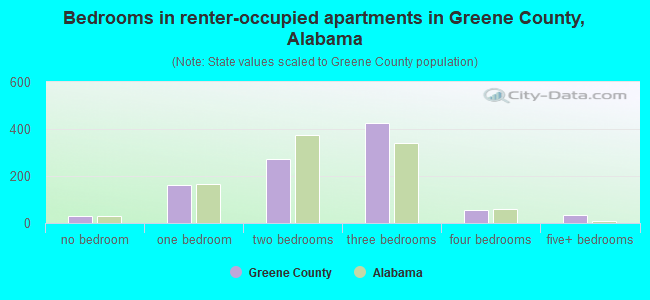 Bedrooms in renter-occupied apartments in Greene County, Alabama