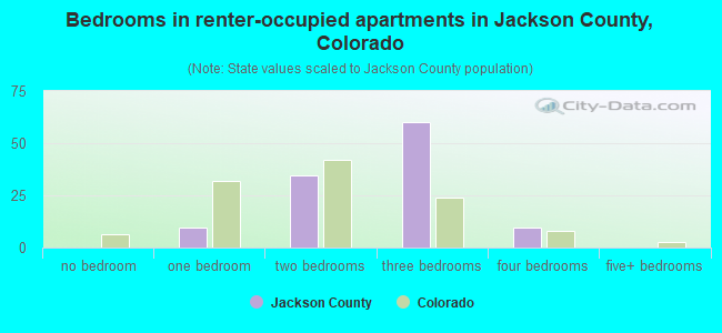 Bedrooms in renter-occupied apartments in Jackson County, Colorado
