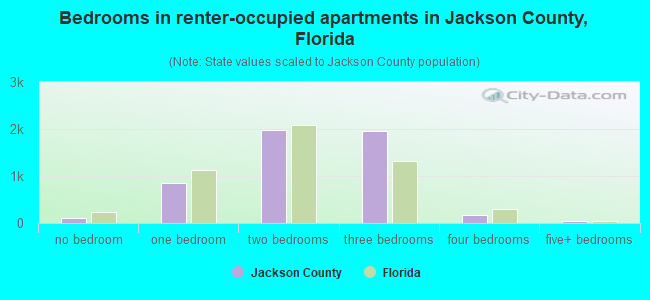 Bedrooms in renter-occupied apartments in Jackson County, Florida