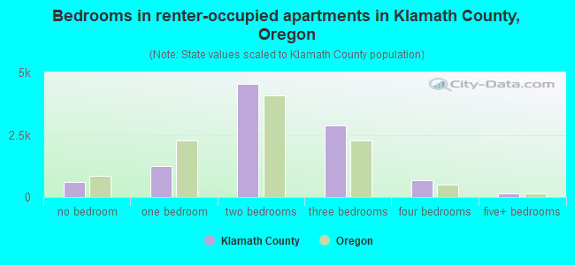 Bedrooms in renter-occupied apartments in Klamath County, Oregon