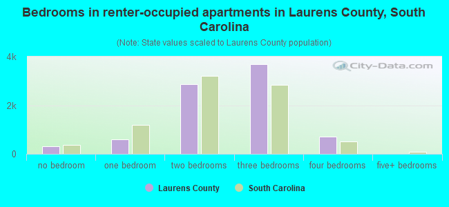 Bedrooms in renter-occupied apartments in Laurens County, South Carolina