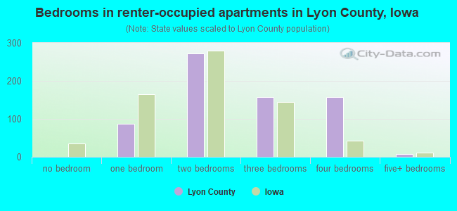 Bedrooms in renter-occupied apartments in Lyon County, Iowa