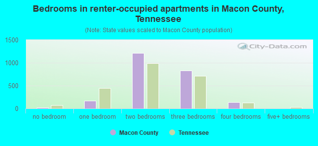 Bedrooms in renter-occupied apartments in Macon County, Tennessee