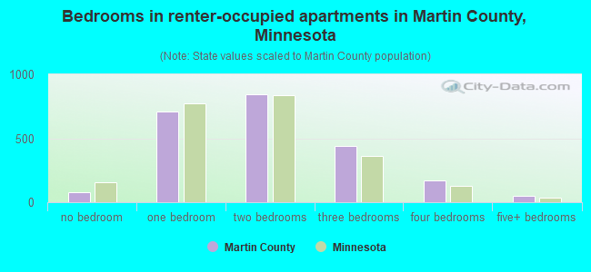 Bedrooms in renter-occupied apartments in Martin County, Minnesota