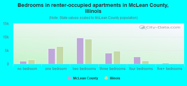 Bedrooms in renter-occupied apartments in McLean County, Illinois