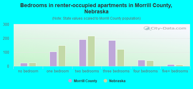 Bedrooms in renter-occupied apartments in Morrill County, Nebraska