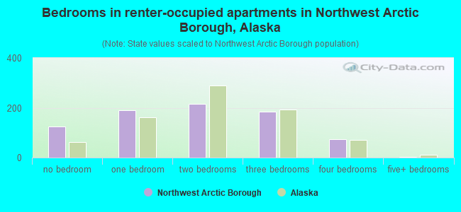 Bedrooms in renter-occupied apartments in Northwest Arctic Borough, Alaska
