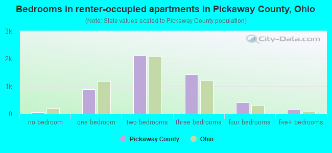 Bedrooms in renter-occupied apartments in Pickaway County, Ohio