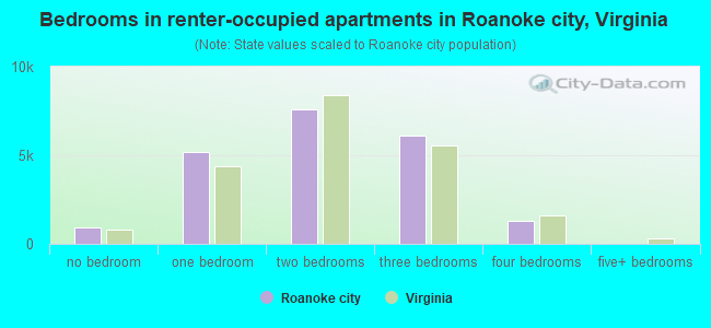 Bedrooms in renter-occupied apartments in Roanoke city, Virginia