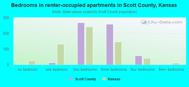 Bedrooms in renter-occupied apartments in Scott County, Kansas