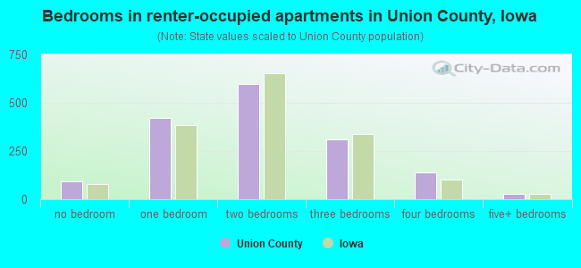 Bedrooms in renter-occupied apartments in Union County, Iowa