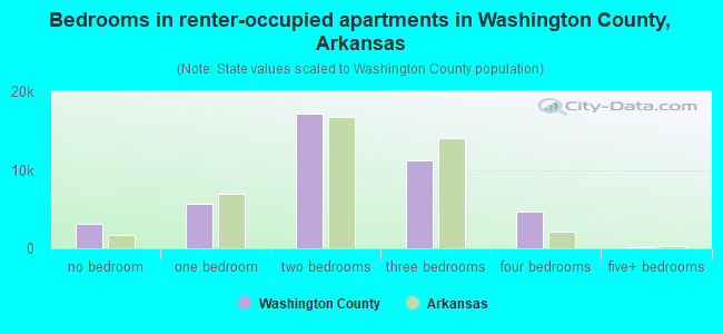 Bedrooms in renter-occupied apartments in Washington County, Arkansas