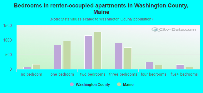 Bedrooms in renter-occupied apartments in Washington County, Maine
