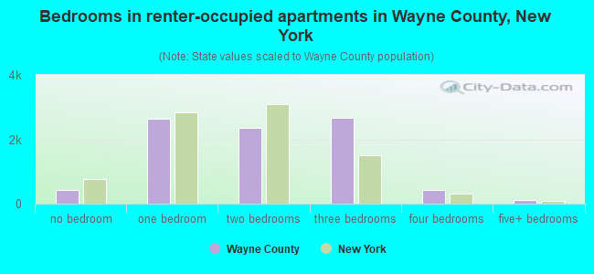 Bedrooms in renter-occupied apartments in Wayne County, New York